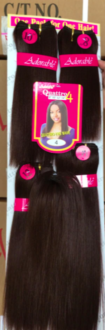 "QUATTRO STRAIGHT HAIR WEAVE WITH FRINGE. 5PCS 8"" 10"" 12"" 14"" AND FRINGE"
